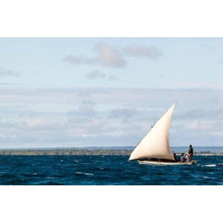 Men sailing on the sea of Zanj Ihla das Rolas Mozambique Canvas Art - Alida Latham DanitaDelimont (18 x 12)