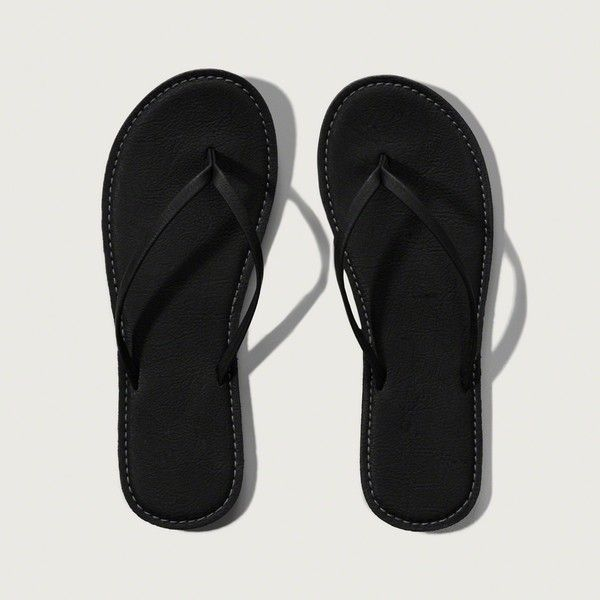 Abercrombie & Fitch Leather Flip Flops ($19) ❤ liked on Polyvore featuring shoes, sandals, flip flops, black, leather sandals, leather footwear, black flip flops, black leather sandals and kohl shoes