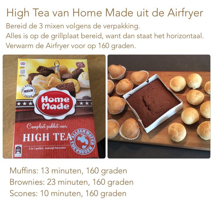 High Tea van Home Made uit de Airfryer. 160 graden, 13, 23 en 10 minuten.  AF