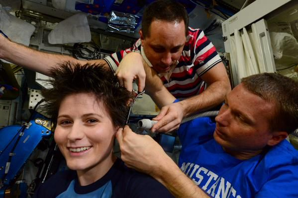 Just an average haircut on the International Space Station.