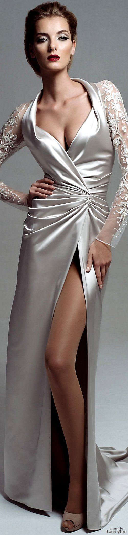 Blanka Matragi Couture Fall 2015 silver maxi dress women fashion outfit clothing style apparel @roressclothes closet ideas
