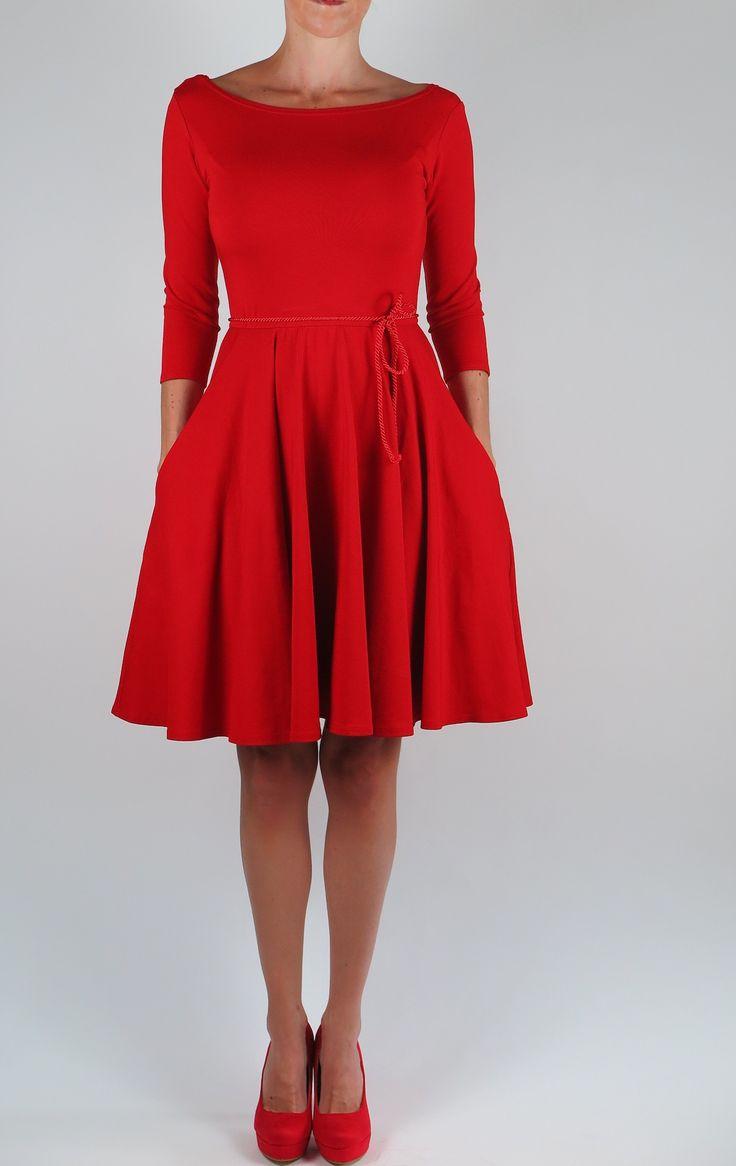 Červené šaty 3/4 rukáv Karkulka