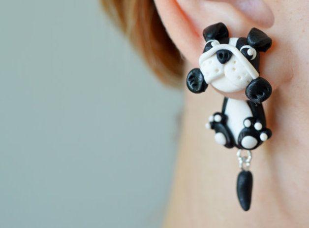 Stud Earrings – Dog earrings,english bulldog stud post earrings – a unique product by JewelryandPleasure on DaWanda