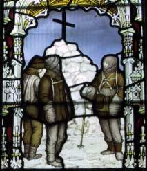 Memorial window in Binton Church, Warwickshire, one of four panels. This one depicts the cairn erected over the site of (Robert Falcon) Scott's last tent.