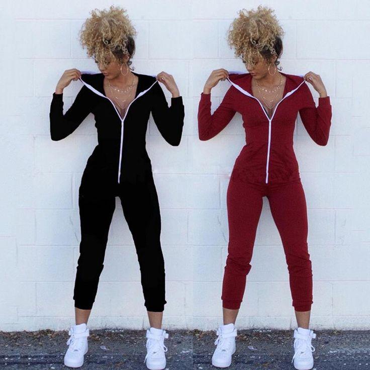 Aliexpress.com: Koop Vrouwen Winter Jumpsuits 2016 Lange Mouw Hooded Outfits rits Katoen Sexy Club Wear Bandage Bodycon jumpsuit van betrouwbare jurk outdoor leveranciers op Kiss Boutique