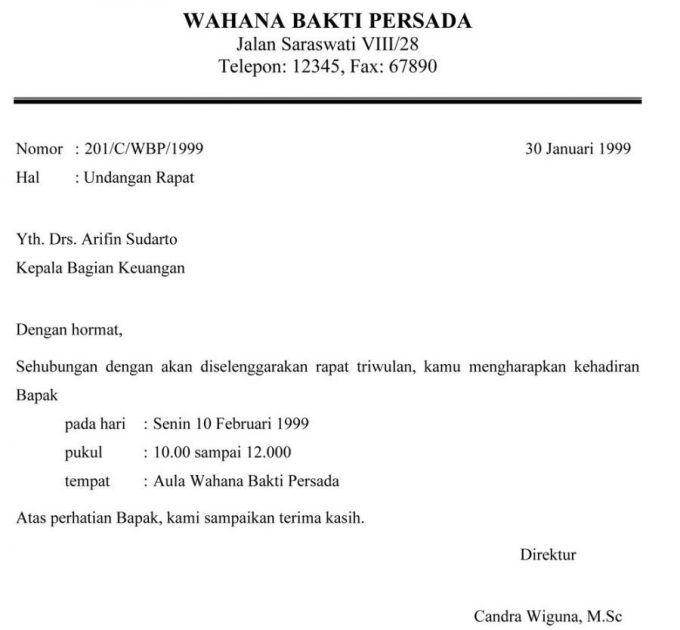 Contoh Surat Undangan Resmi