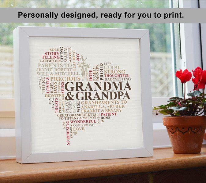 Printable File - Grandparents word art gift. Grandma, Grandpa, Nanny, Grandad. Personalised print heart present by AliChappellUK on Etsy https://www.etsy.com/listing/215041767/printable-file-grandparents-word-art
