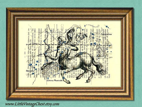 SAGITTARIUS CONSTELLATION  Centaur Zodiac by littlevintagechest, $7.99
