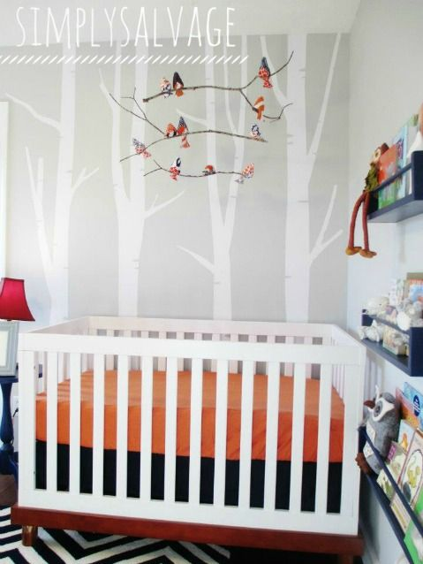 Orange Navy Nursery Woodland Bird Mobile