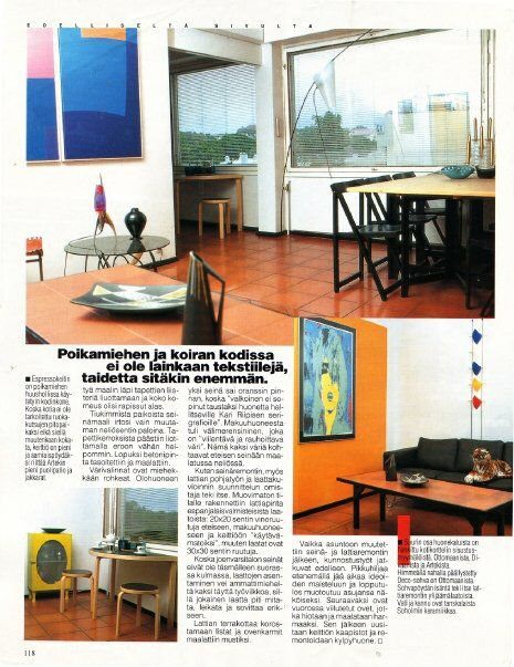 Eerikinkatu 2 livingroom at Anna magazine 1998