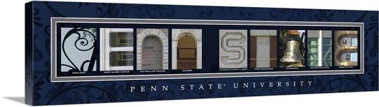 """""""Penn State - Pennsylvania State University Campus Letters"""" Wall Art by Campus Letter Art from Great BIG Canvas."""