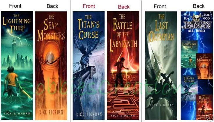 Percy Jackson Half Boy and Half GOD. Eachbookmark is designed differently on the Front and the Back.the 5 books, The Lightning Thief, The Sea of Monsters, The Titan's Curse, The Battle of the Labyrinth and The Last Olympian. | eBay!