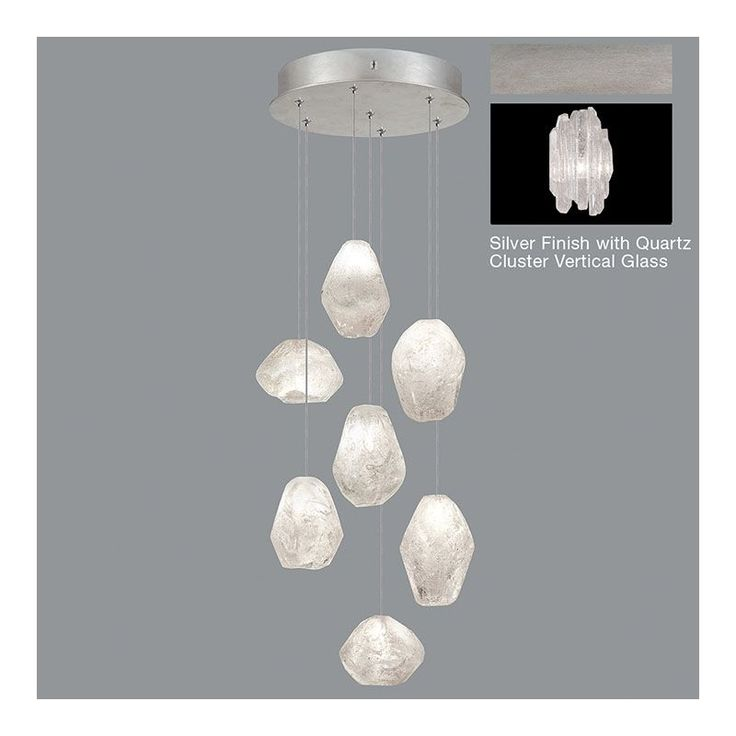 Fine Art Lamps 852640-1ST Natural Inspirations 7 Light Multi Light Pendant with Platinized Silver Leaf / Quartz Clusters Glass Indoor Lighting