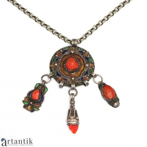 Bijuterii exotice, colier tribal, argint, coral, email / Exotic jewels, tribal necklace, silver, coral, email