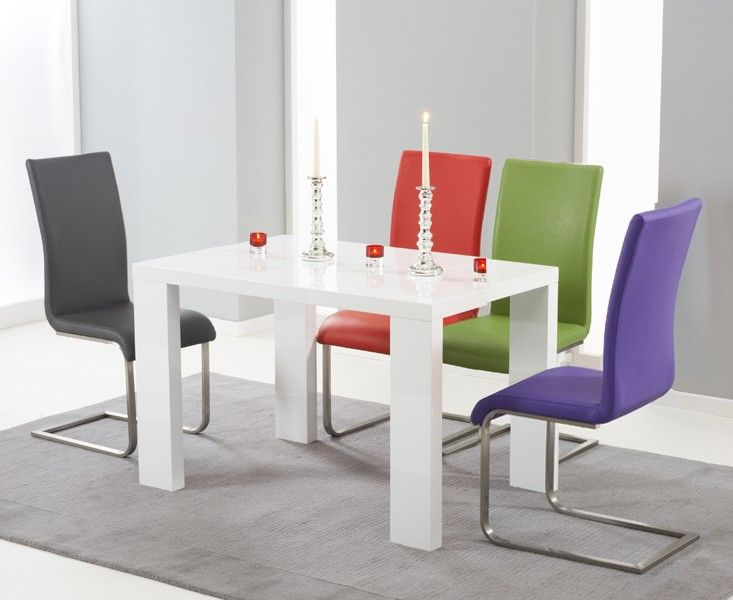 Monza 120cm White High Gloss Dining Table With Malaga Chairs Contemporaryfurniture