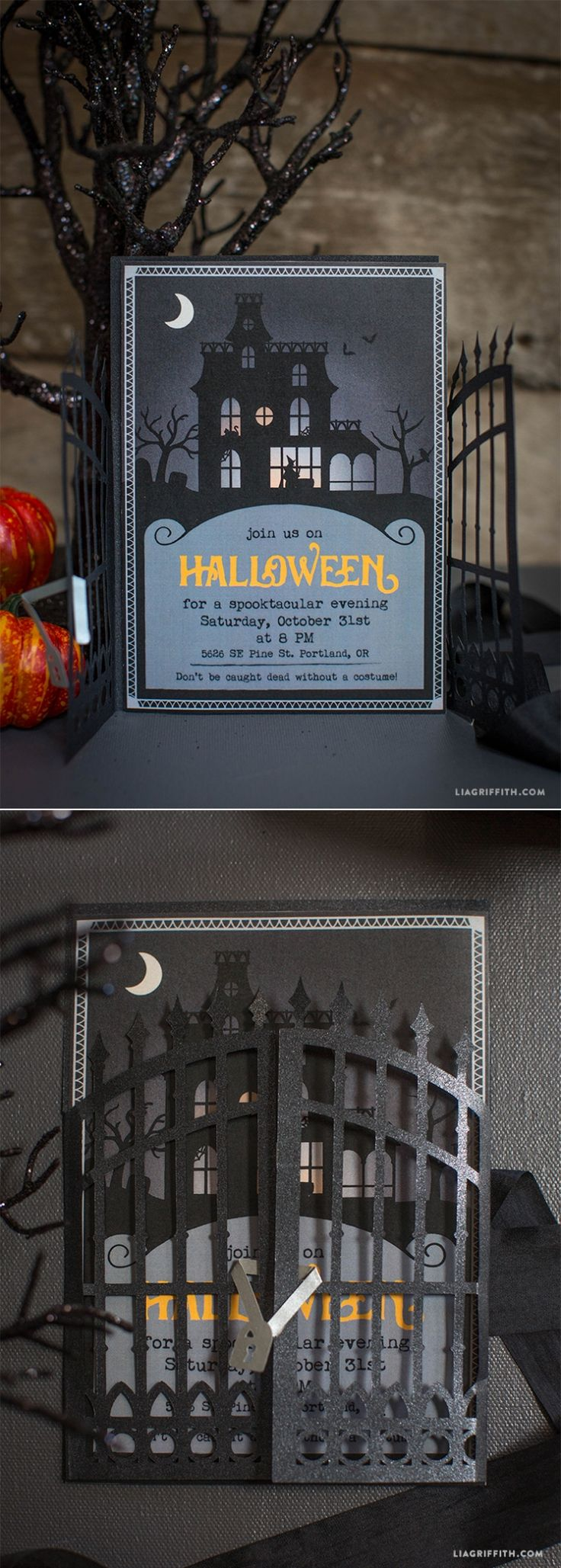 #HalloweenParty #PartyInvitation #Halloween www.LiaGriffith.com
