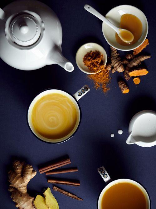 Turmeric Tea 2 slices fresh turmeric root 1/2 cinnamon stick 1 slice fresh ginger 1 tsp. raw honey 16 oz. water coconut milk (optional)