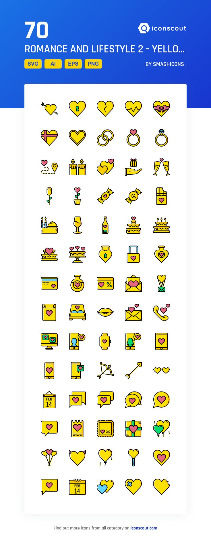 Romance And Lifestyle 2 Yellow Icon Pack 70 Filled