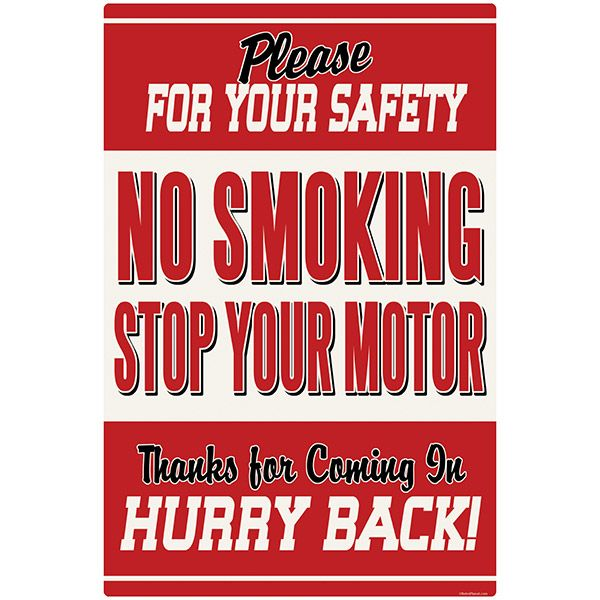 No Smoking Stop Motor Wall Decal http://www.retroplanet.com/PROD/42480