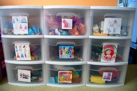 Put pictures on plastic bins so that children understand where to put their…