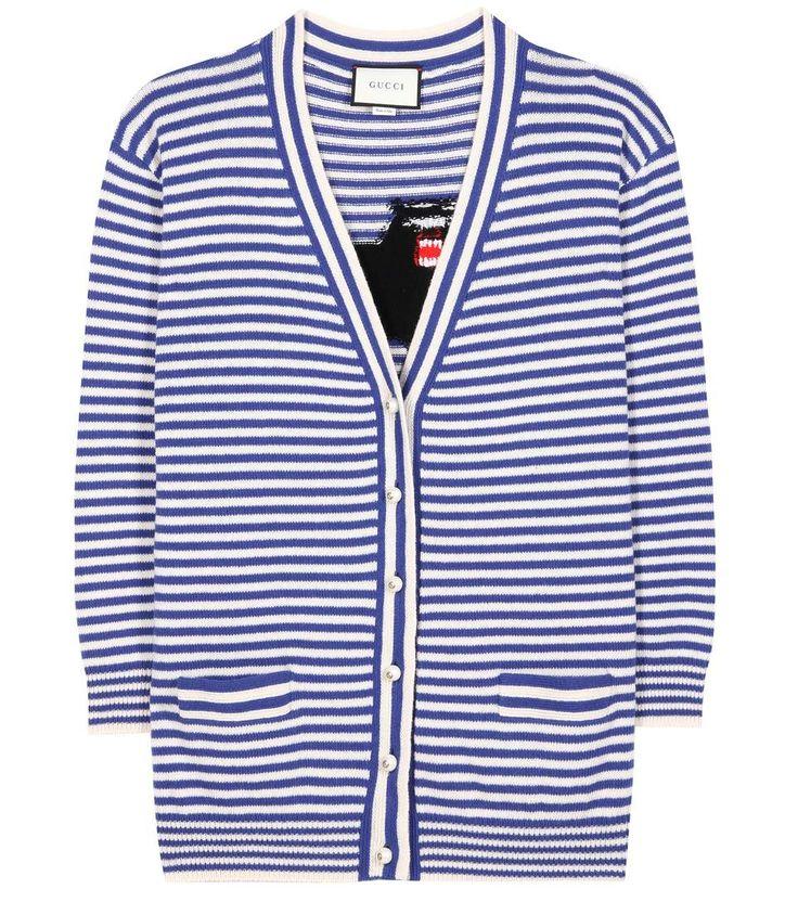 Cardigan rayé en laine bleu et blanc à motif intarsia