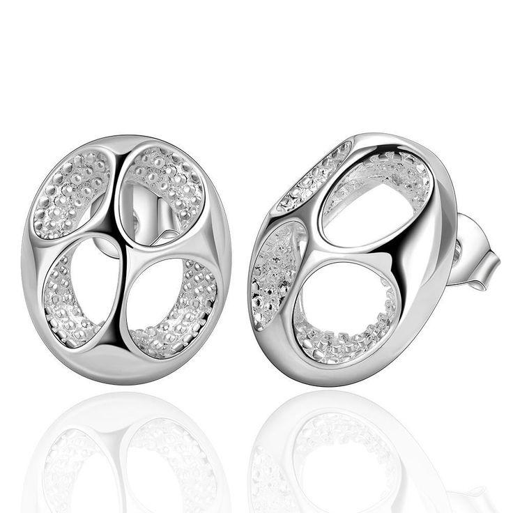 Classic Silver Plated Round Flower Stud Earrings Trendy Piercing Women Jewelry Casual Anting Wanita Cantik Bijoux Cincin Hadiah