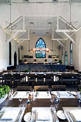 the white rabbit, a restaurant and bar located in an old chapel in singapore, restored by design team takenouchi webb
