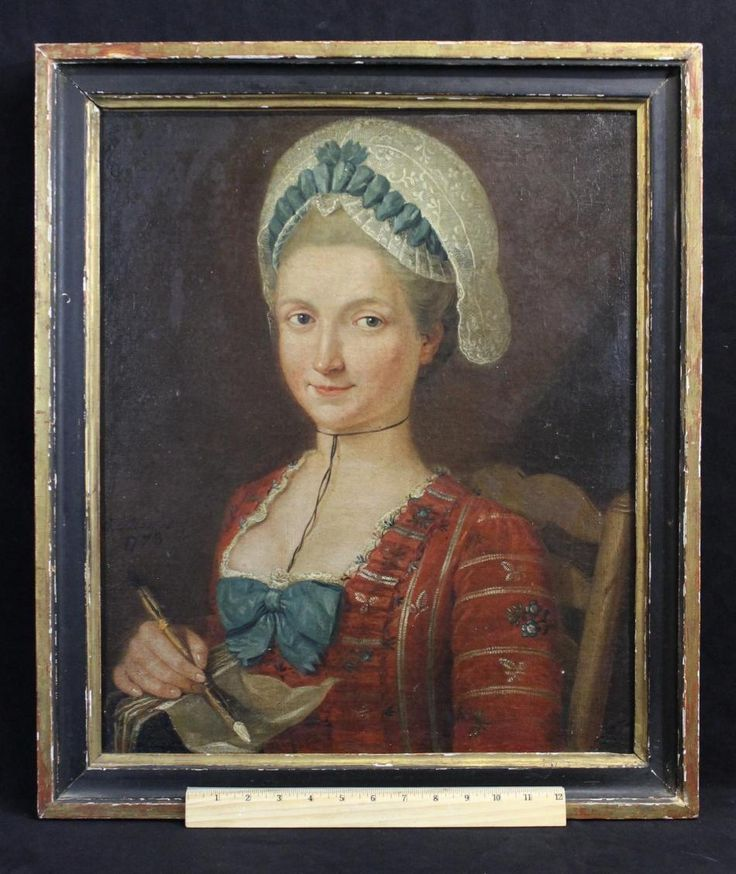 1773 Antique 18thC Signed American Portrait Oil Painting *Smiling Young Artist*  sold ebay   2174.00  Self Portrait, Finely Detailed