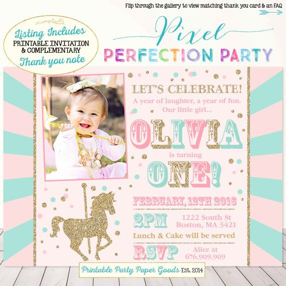 Carousel Birthday Invitation Carousel by PixelPerfectionParty                                                                                                                                                                                 More