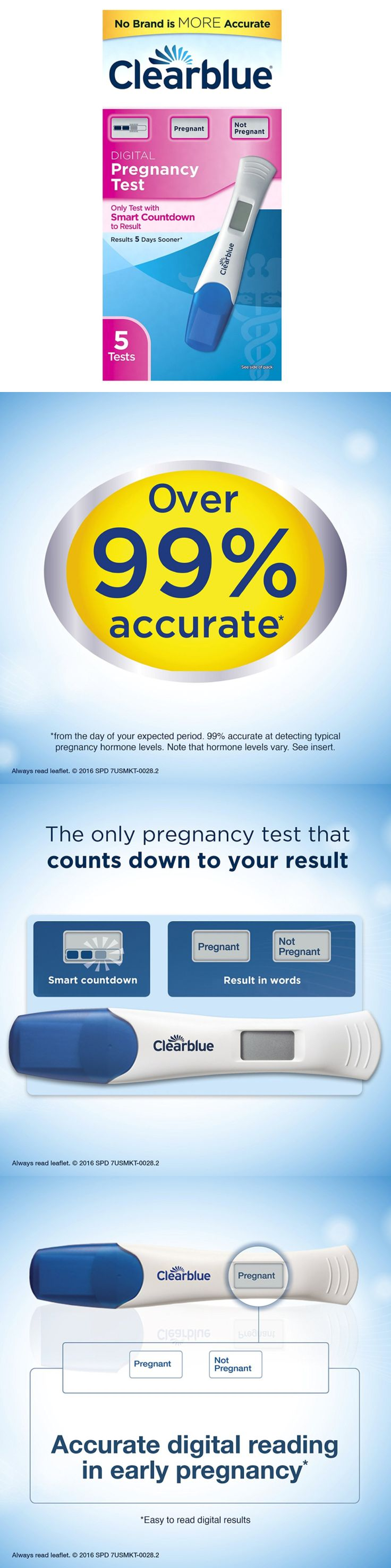 Pregnancy Tests: Clearblue Digital Pregnancy Test With Smart Countdown, 5 Pregnancy Tests -> BUY IT NOW ONLY: $32.07 on eBay!