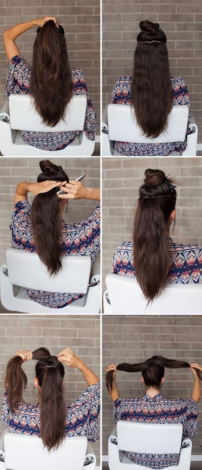 einfache frisuren für den alltag, frisuren für lange haare, dutt-frisur, haare hochstecken