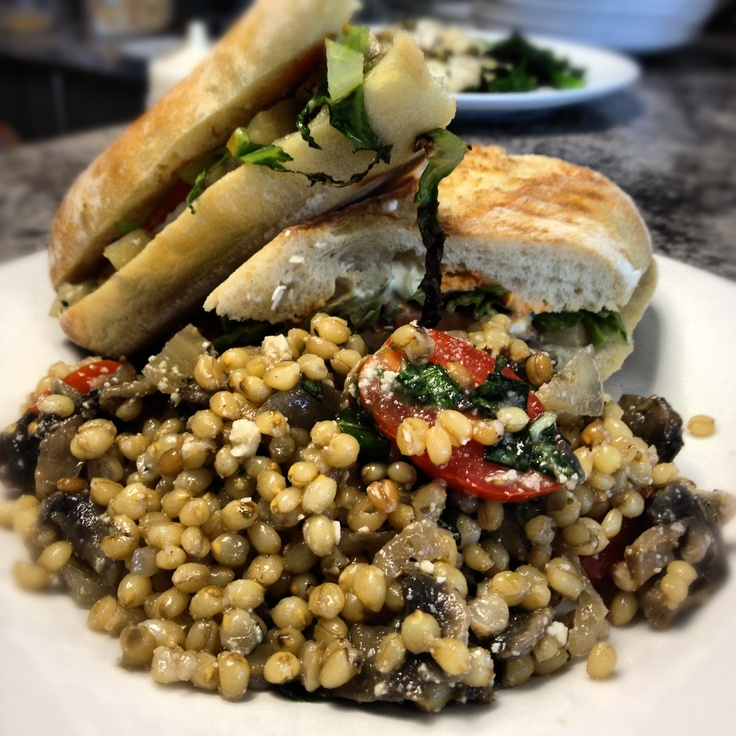 Marinated eggplant and feta sandwich on a toasted ciabatta bun with a ...