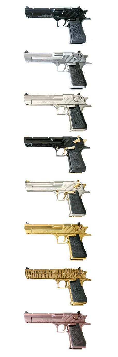 Desert eagle finishes from standard black to nickel to gold plated and everything inbetween