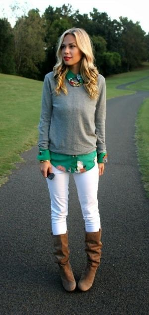 #fall #fashion ---- cognac boots, white pants, floral button down, gray sweater, statement necklace
