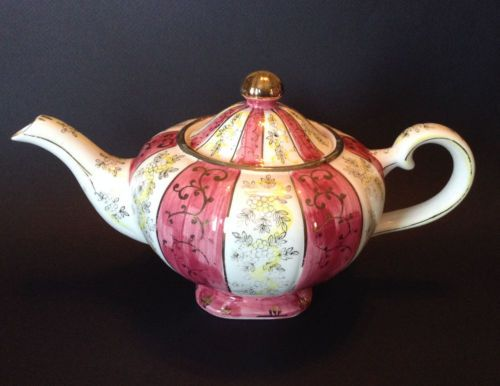 Vintage-Pink-Yellow-Striped-Tea-Pot-Hand-Painted-With-Gilding-Japan