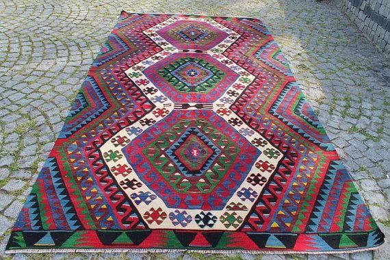 Turkish Kilim Rug 122.44''x65.35'' Anatolian Kilim by kilimpi