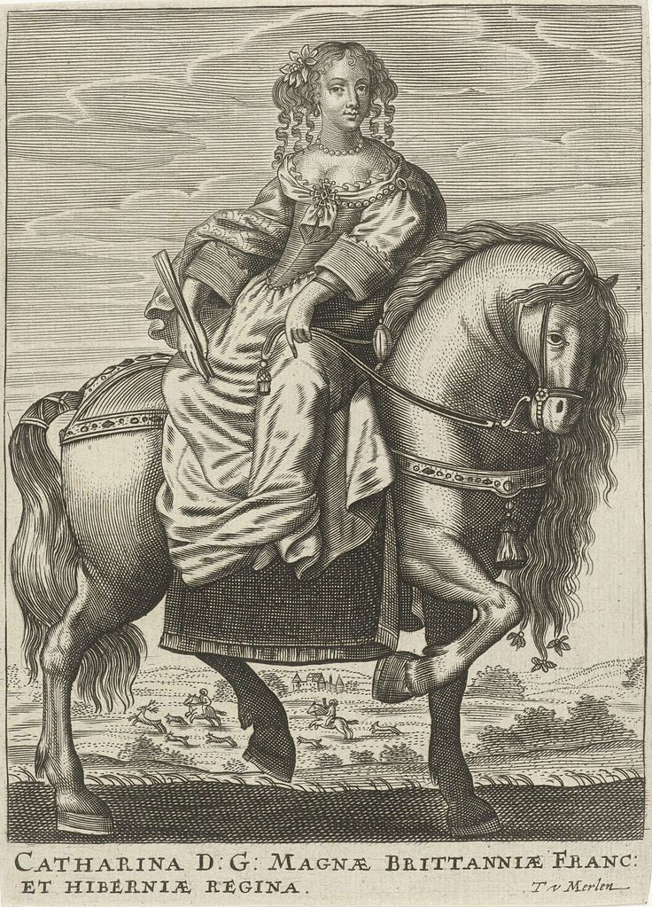 Portret van Catharina van Braganza, koningin van Engeland, Theodor van Merlen (II), 1619 - 1672