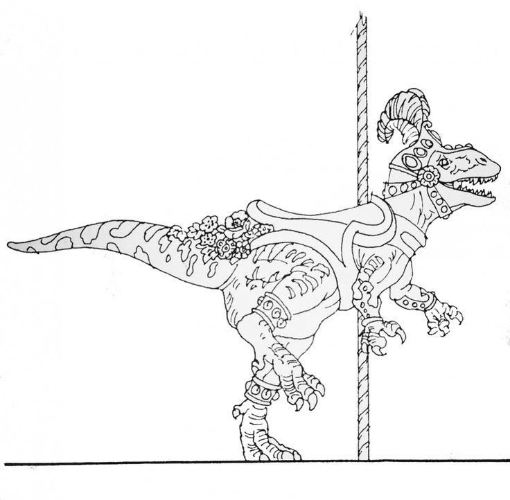megalosaurus dinosaur carousel animal sketch animal sketchescarouselsdinosaurscoloring
