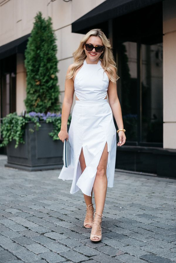 Fame & Partners Custom Made White Dress -- bows & sequins. White halter dress with cut-outs+nude lace up peep-toed pumps+white and navy striped clutch+sunglasses. Summer Outfit 2016