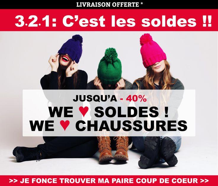 3-2-1 : C'est les soldes !!!!!! TOP DÉPART ! Jusqu'à -40% sur vos marques préférées ! Rendez-vous en ligne !!  #Kickers - Reqins - Mam'zelle - #Timberland - #Bellamy - Shoo Pom - Converse - Clarks - Vans - New Balance et encore d'autres marques à shopper !! www.chaussuresonline.com #chaussures #soldes