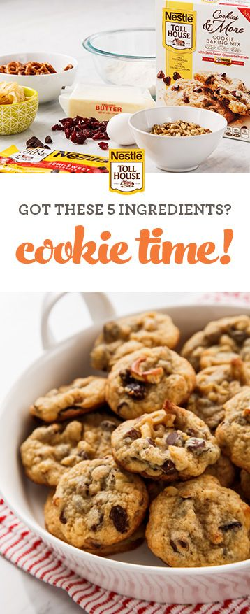 Know what makes baking mixes so popular? The endless ways you can customize them, as this recipe proves. Start with our Nestlé® Toll House® Cookies & More Baking Mix and add the mix-in ingredients you have on hand (bonus: the mix includes chocolate morsels). You can enjoy a quick and easy batch of cookies any time. Get the recipe at verybestbaking.com