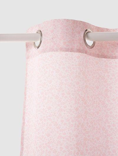 Ösen-Vorhang für Kinderzimmer WEIß/ROSA