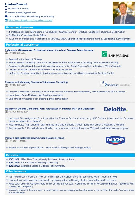 consultant business intelligence stage cv