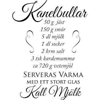 Väggord: recept kanelbullar