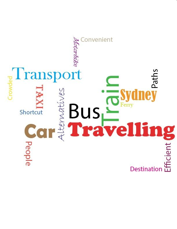Type of words that describe visually about the modes of transport through size and colour