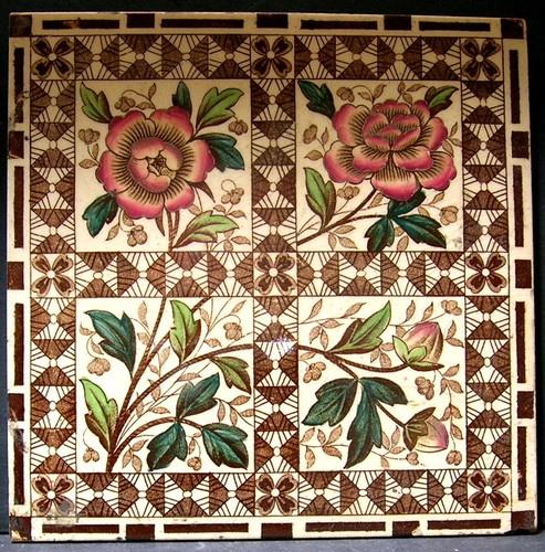 Antique Victorian Ceramic Tile - Wooliscroft - 1890