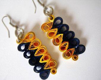 Quilling Earrings Modern Yellow and Blue Paper Earrings,Paper Jewelry Eco Friendly Jewelry