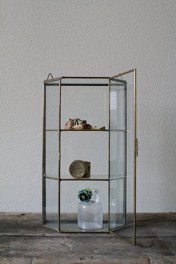 glass & brass display cabinet
