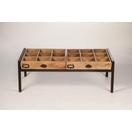 Table basse bois m tal multi rangement deco pinterest decoration - Table basse rangement ...