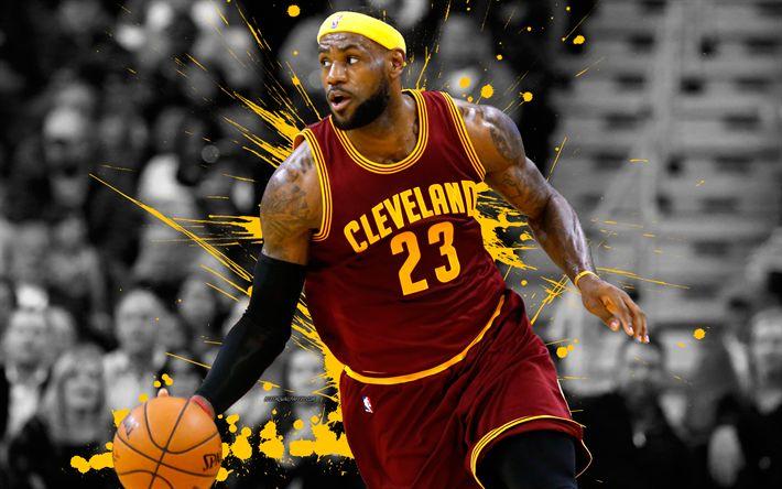 Download wallpapers 4k, LeBron James, art, basketball players, CAVS, NBA, Cleveland Cavaliers, grunge, basketball, basketball stars